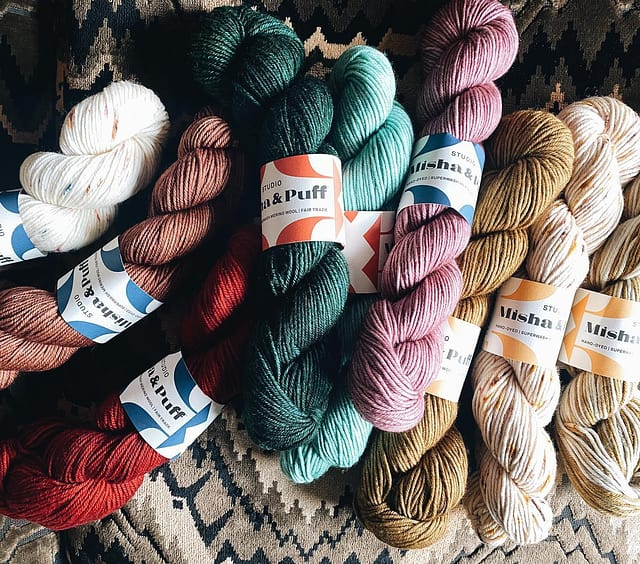 Hi! Bringing the first look of our yarn skeins to our Newburyport showroom. These lovelies are coming soon and I'm working on some EASY (i.e. never knitted before ever!) patterns to get you started!
