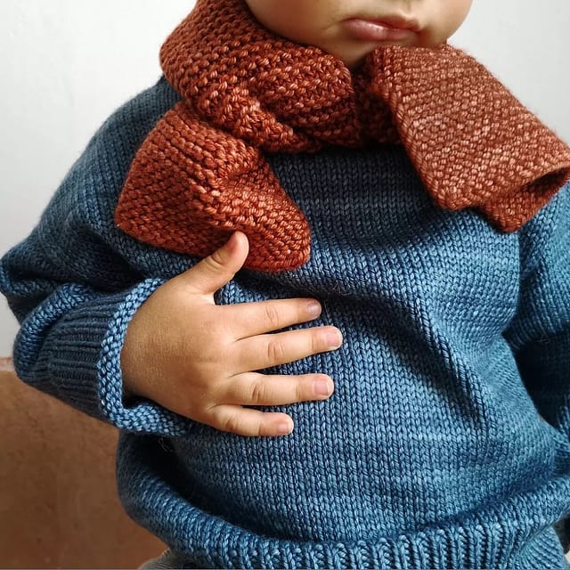 It all starts with our beautiful hand dyed yarns. Love how these elemental styles showcase the depth of color so well. Beautiful image from @stellina.shop of our garter scarf and simple sweater.