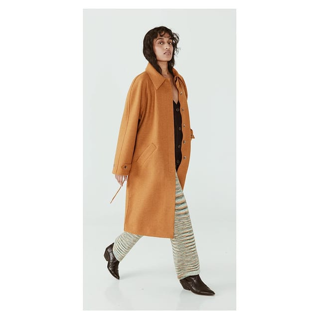 The Saville Trench in Marigold. Alpaca boiled wool. Perfectly styled to wear over all your sweaters.