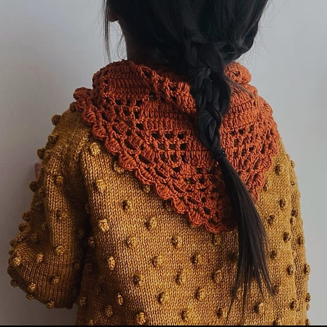 Summer into fall color palette. Our seasons colors and styles are designed to flow seamlessly together. Be sure to check our sale section for some goodies to mix in with your new fall pieces!  Popcorn sweater in marigold with crochet kerchief in marmalade.